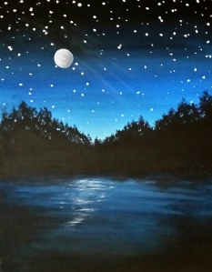 Starry Lake and Moon