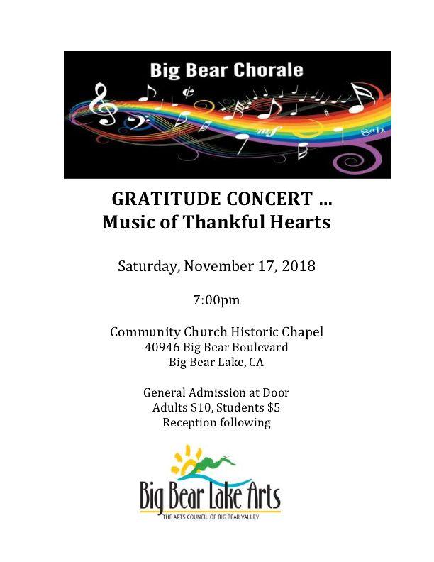 Big Bear Chorale Gratitude Concert Poster